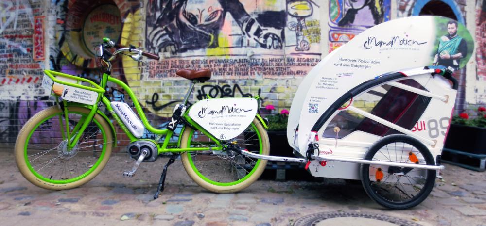 MamaMotion E-Bike samt Anhänger